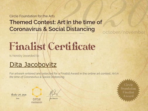 Finalist Certificate - Themed Contest: Art in the Time of Coronavirus & Social Distance