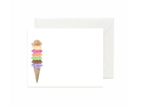 Ice Cream Cone Flat Note Cards