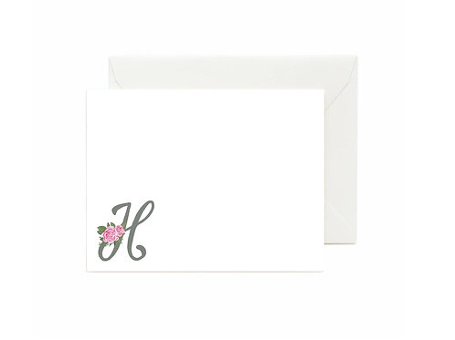 Letter H Flat Note Cards