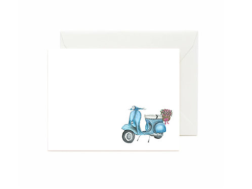 Floral Vespa Flat Note Cards