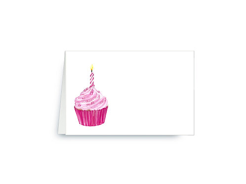 Pink Birthday Cupcake Place Cards