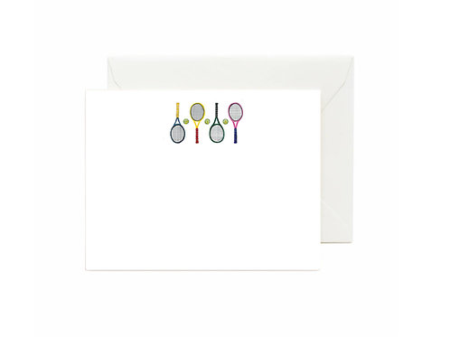 Four Tennis Racquets Flat Note Cards