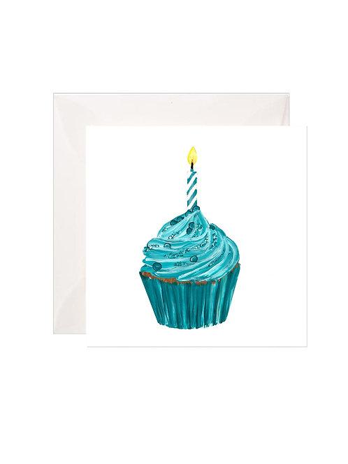 Turquoise Birthday Cupcake Gift Enclosures