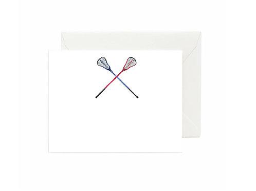 Lacrosse Sticks Flat Note Cards
