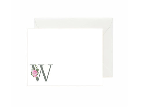 Letter W Flat Note Cards