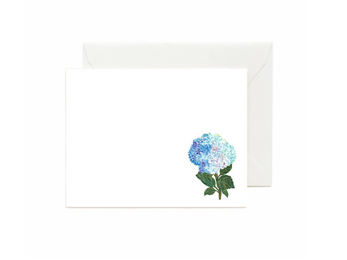 Dark and Light Blue Hydrangea Flat Note Cards