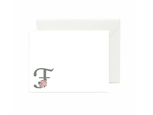 Letter F Flat Note Cards