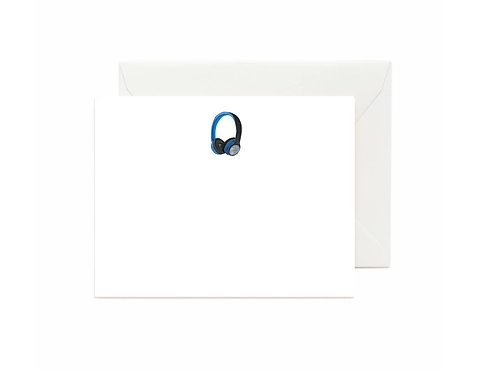 Headphones Flat Note Cards