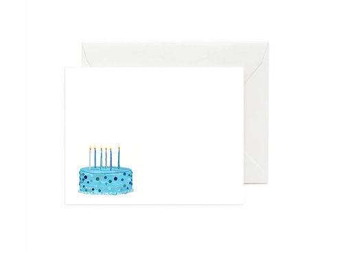 Blue Birthday Cake Flat Note Cards