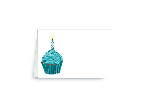 Turquoise Birthday Cupcake Place Cards