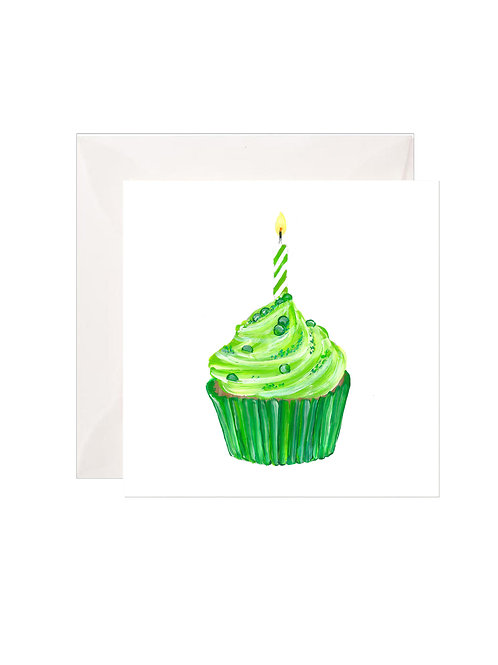 Lime Green Birthday Cupcake