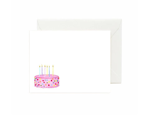 Pink Birthday Cake Flat Note Cards