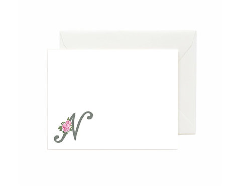 Letter N Flat Note Cards