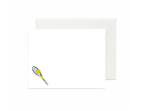 Rainbow Tennis Racquets Flat Note Cards