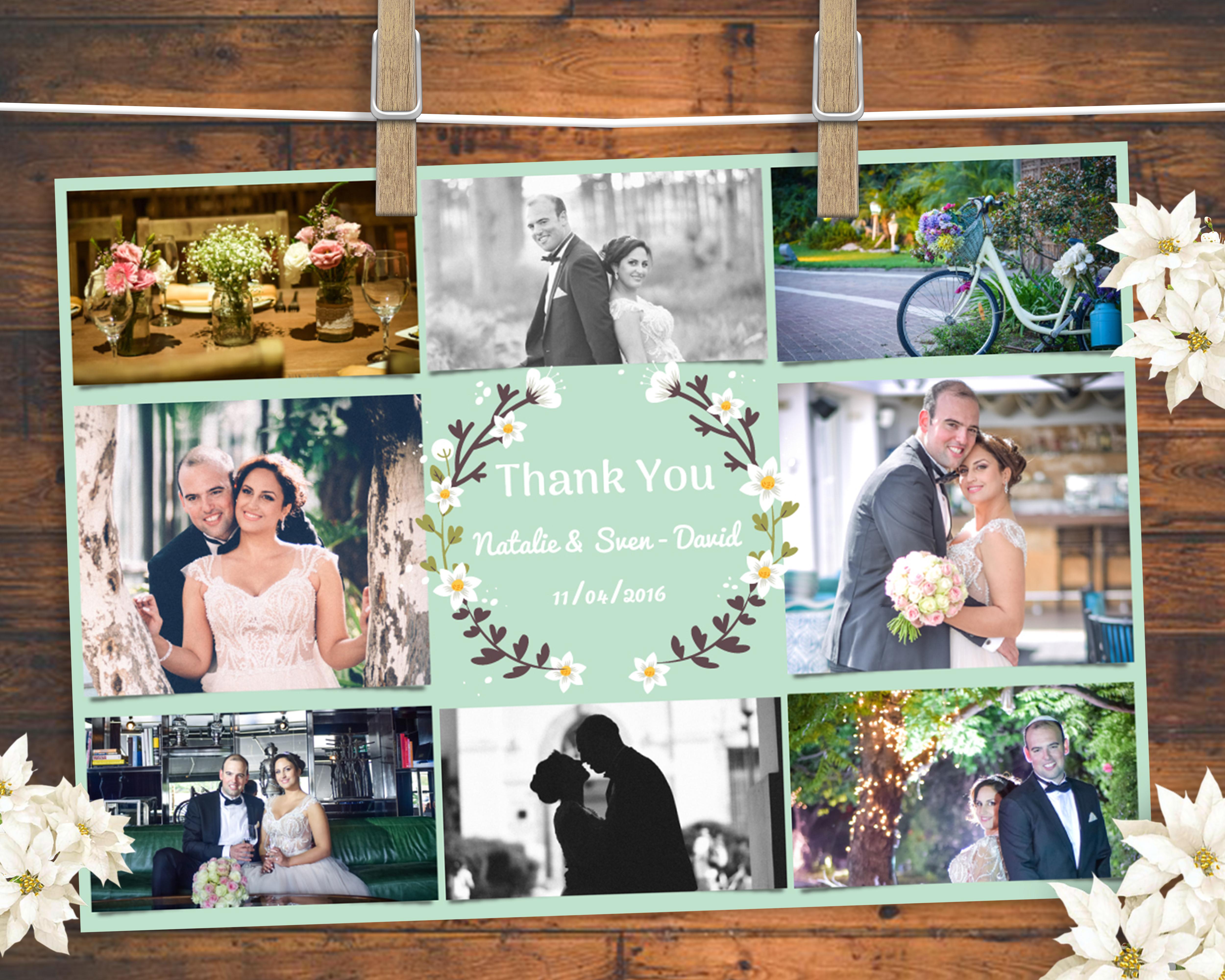 thank you card עיצוב הזמנה לחתונה