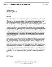 Letter from Beachside Lighting