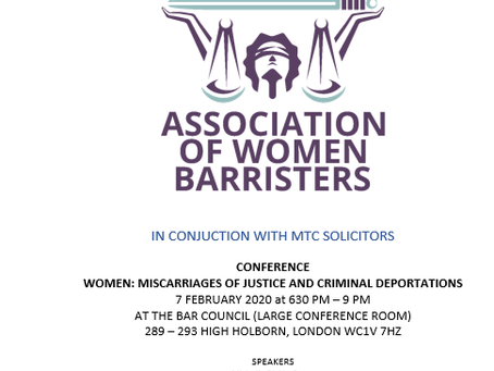 Association of Women Barristers & MTC host conference at the Bar Council - 7th February 2020