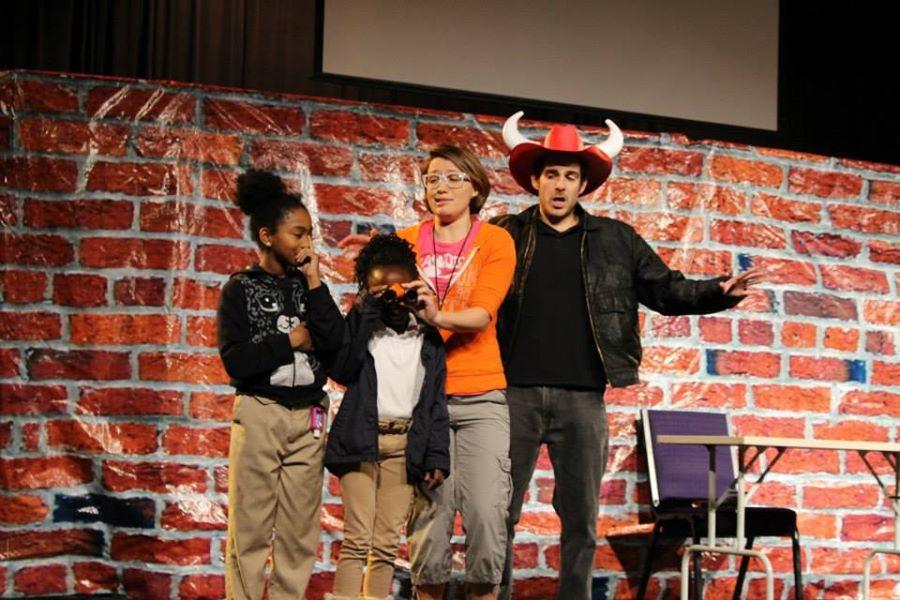 Shreveport Opera troupe members Gillian and Ryan perform Stop, Bully! for school children.