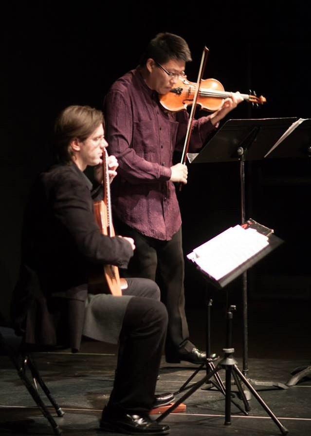 Guitarist Jay Kacherski and Violinist Lin He at Abendmusik Alexandria