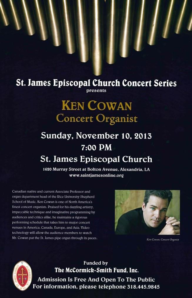 St. James Episcopal hosts Organist Ken Cowan on November 10