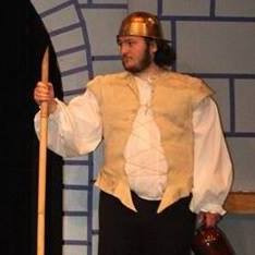 Jackson as a Swamp Castle guard in Spamalot