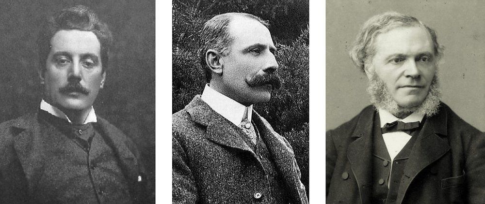 Left to Right: Giacomo Puccini, Edward Elgar, and César Franck