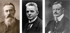 Left to Right: Nikolai Rimsky-Korsakov, Carl Nielsen, and Jean Sibelius