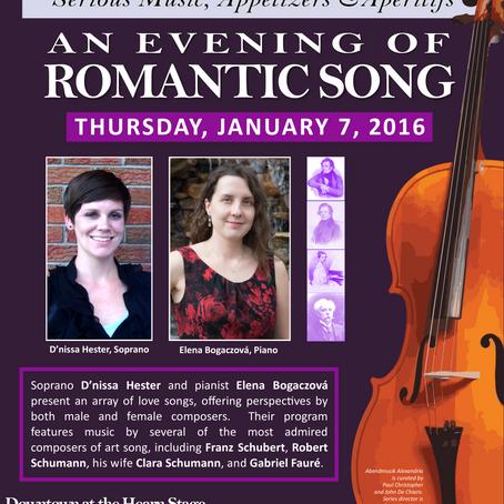 62. Abendmusik Alexandria's An Evening of Romantic Song This Thursday, January 7