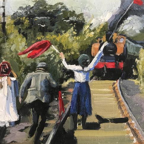 "The Railway Children, 5x7"", oil on board"