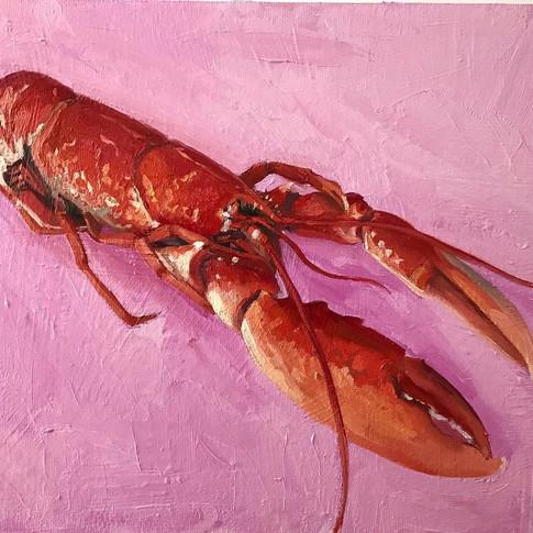 Large Lobster, 40x50cm, oil on board, AV