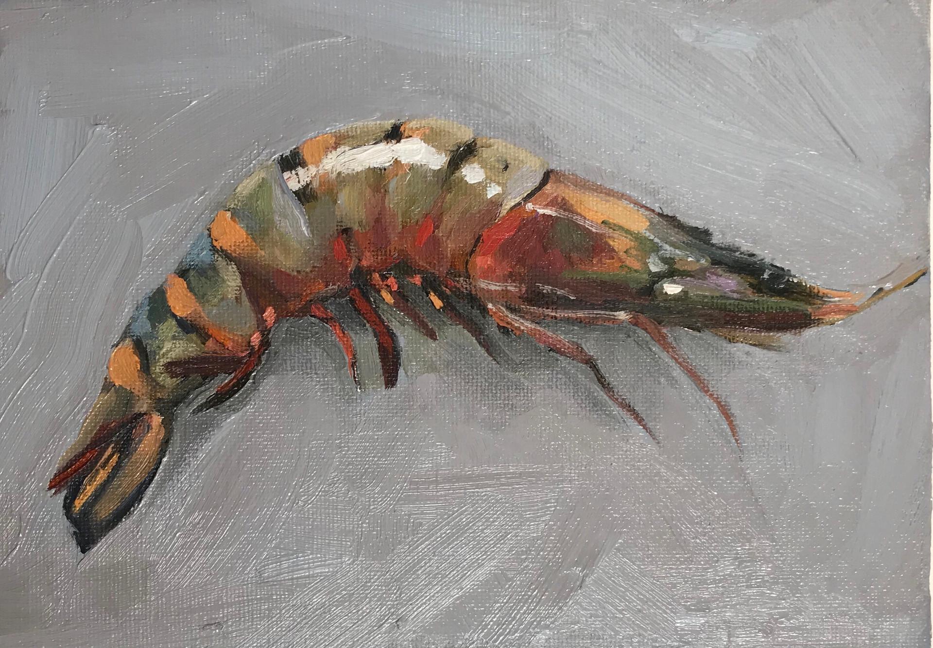 Tiger Prawn, oil on board, 20x15cm, SOLD