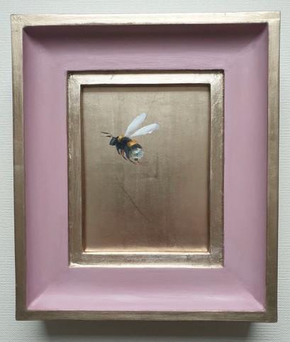 """SOLD Cinder Rose Gold Bumble (flying left), Oil on genuine golf leaf, 7x8"""" framed"""