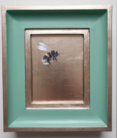 "SOLD Breakfast Room Green Gold Bumble (flying right), Oil on genuine golf leaf, 7x8"" framed"