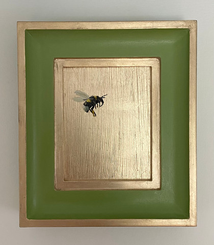 """SOLD Yearbridge green bumble, Oil on 22 carat moon gold leaf, 6x7"""" framed"""