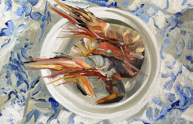 """Tiger Prawns on blue and white 10x12"""""""