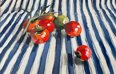 """Tomatoes on blue ticking, 10X12"""""""
