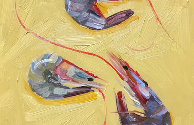 "Ollie Tuck, Yellow Prawns, 12X10"""