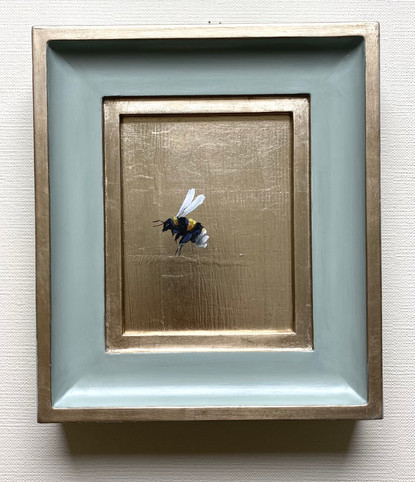 """SOLD Light Blue Gold Bumble, Oil on genuine golf leaf, 7x8"""" framed"""
