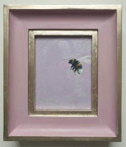 """SOLD Cinder Rose Bumble, Oil on board, 7x8"""" framed"""