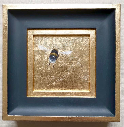 "SOLD Golden Bumble, 4x4"" (7x7"" framed)"