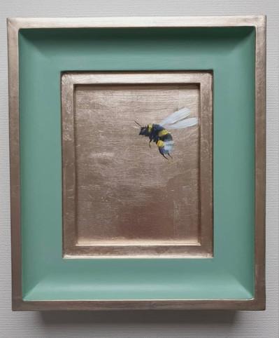 "SOLD Breakfast Room Gold Bumble, Oil on genuine gold leaf, 7x8"" framed"
