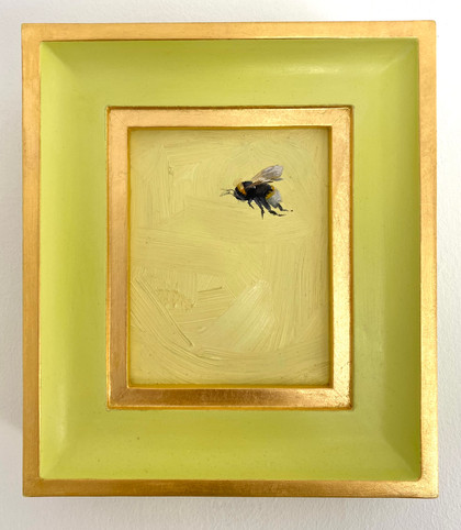 "SOLD Jetfire Daffodil Bumble, Oil on board, 7x8"" framed"