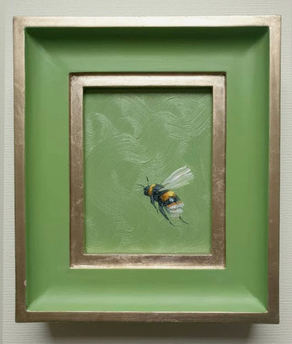 "SOLD Yearbridge Green Bumble, Oil on board, 7x8"" framed"
