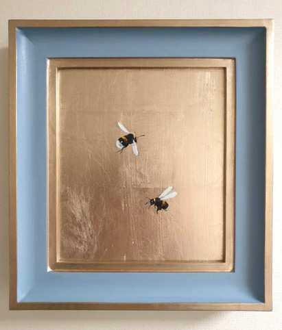 RESERVED Grey Stone Double Bumble, Oil on 22 carat moon gold leaf, 10x11' Framed