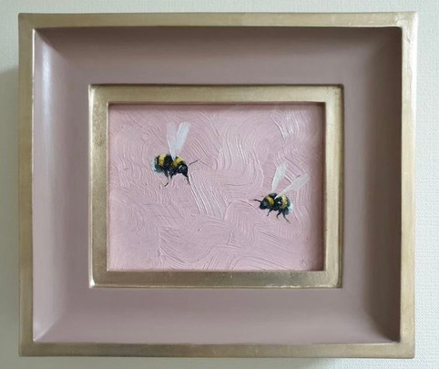 """RESERVED Sulking pink double bumble, Oil on board, 7x8"""" framed"""