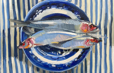 """Herrings on willow spode and blue ticking,10x12"""""""