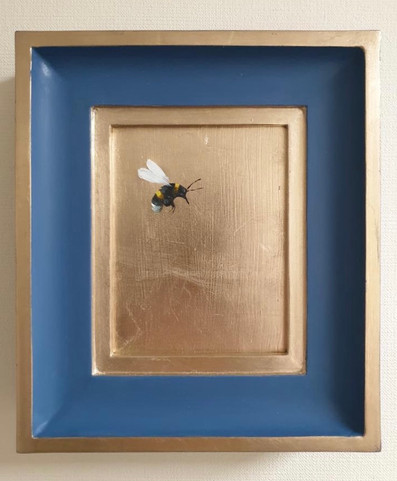 """RESERVED Woad bumble, Oil on 22 carat moon gold leaf, 7x8"""" framed"""