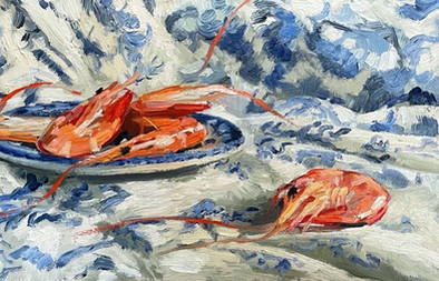 """Pink prawns on blue and white ,14x6"""""""