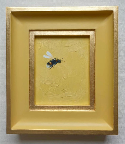 "SOLD Daffodil Babouche Bumble, Oil on board, 7x8"" framed"