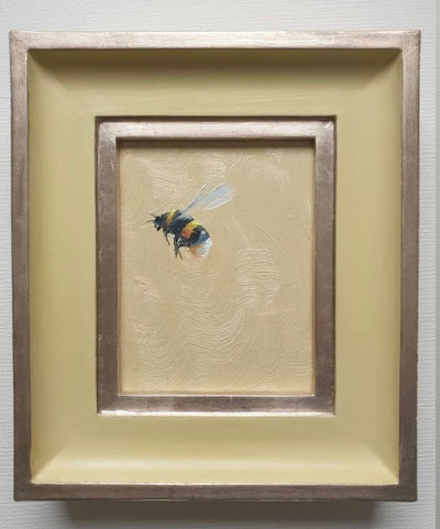 "SOLD Hay Bumble, Oil on board, 7x8"" framed"